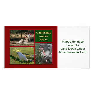 Merry Christmas Aussie Animals Personalized Photo Card