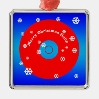 Merry Christmas Baby ornament_square Silver-Colored Square Decoration