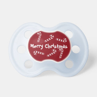 Merry Christmas Baby Pacifier with Candy Canes