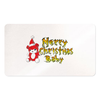 Merry Christmas Baby Red Teddy Bear Pillow Decals Business Card Template