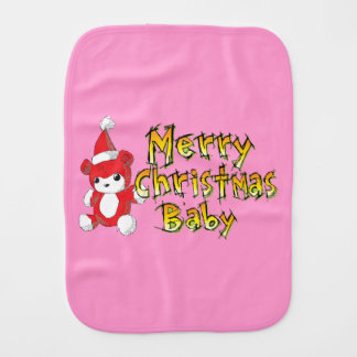 Merry Christmas Baby Red Teddy Bear Shirt Jackets Baby Burp Cloth