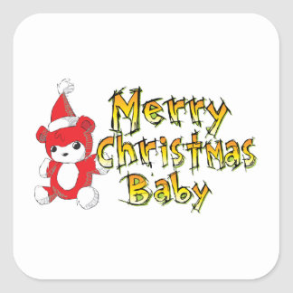 Merry Christmas Baby Red Teddy Bear Watch Keychain Stickers