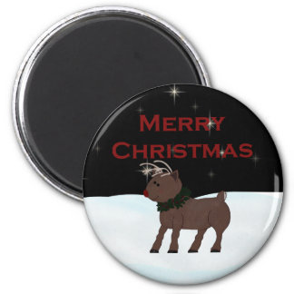 Merry Christmas Baby Reindeer 6 Cm Round Magnet