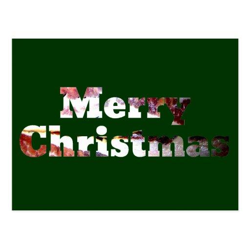 Merry Christmas Bacon Print Post Card