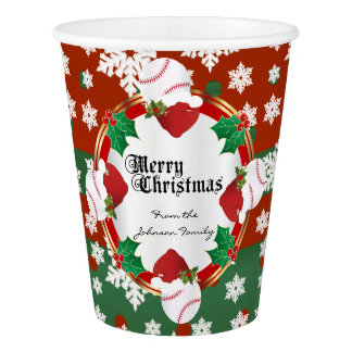 Merry Christmas Baseball Lovers Paper Cup