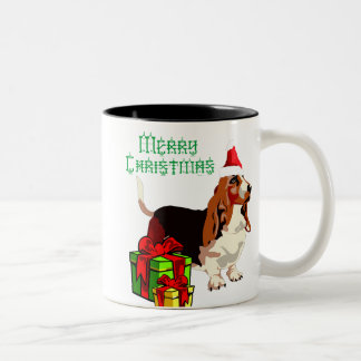 Merry Christmas Basset Hound With Presents Mug