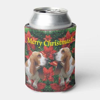 Merry Christmas Basset Hounds Can Cooler