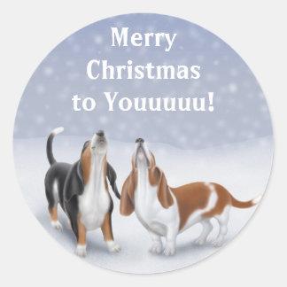 Merry Christmas Basset Hounds Classic Round Sticker