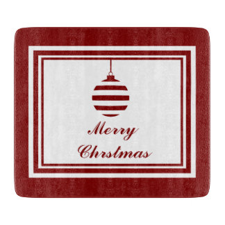 Merry Christmas Bauble Holidays Red And White Cutting Board