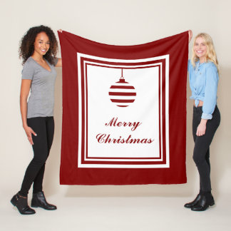 Merry Christmas Bauble Holidays Red And White Fleece Blanket