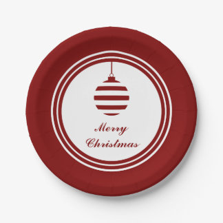 Merry Christmas Bauble Holidays Red And White Paper Plate