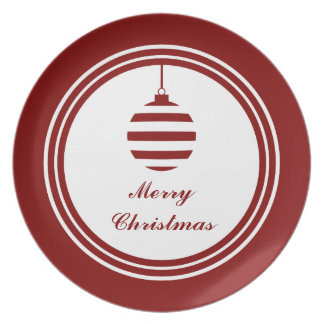 Merry Christmas Bauble Holidays Red & White Plate