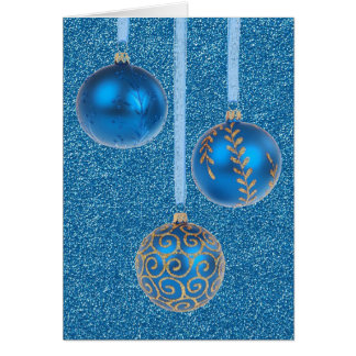Merry Christmas Baubles Gold Blue Glitter Card