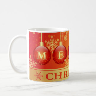 Merry Christmas Baubles Red Gold Ornaments Basic White Mug