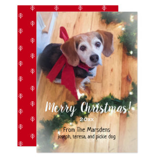 Merry Christmas Beagle Customizable Flat Card