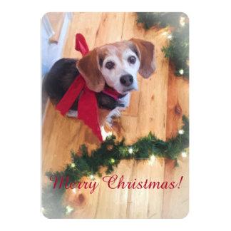 Merry Christmas Beagle Flat Card