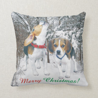 Merry Christmas Beagle Pups Snowy Woods Cushion