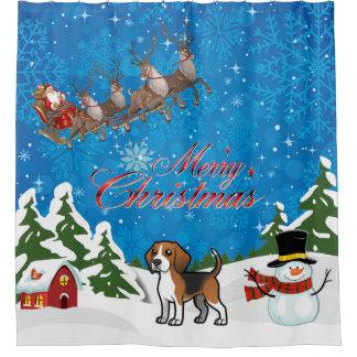 Merry Christmas Beagle With Santa Shower Curtain