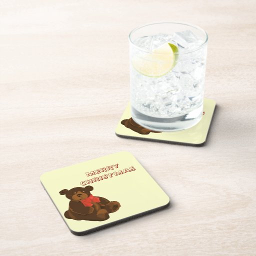 Merry Christmas Bear Beverage Coaster