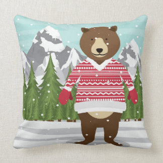 Merry Christmas Bear In A Sweater Cushion