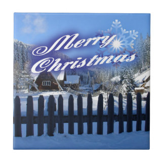 Merry Christmas - Beautiful Log Cabin in the Snow Ceramic Tile