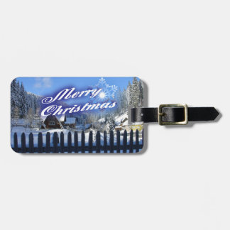 Merry Christmas - Beautiful Log Cabin in the Snow Luggage Tag