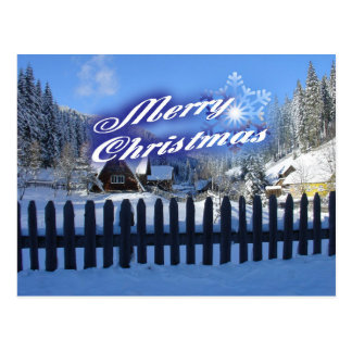 Merry Christmas - Beautiful Log Cabin in the Snow Postcard