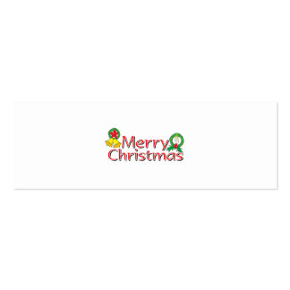 Merry Christmas Bell Lantern Wreath Candle Buttons Business Card Template