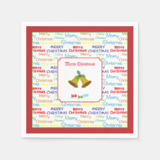 Merry Christmas Bells & Holly Disposable Serviettes