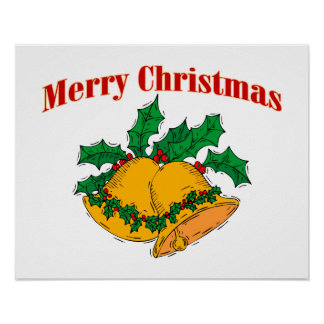 Merry Christmas Bells Print