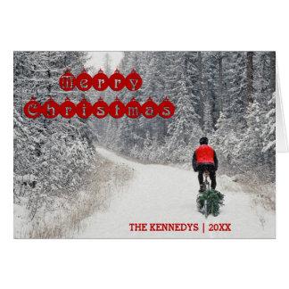 Merry Christmas - Biker bringing home the Tree Card