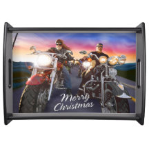 Merry Christmas Bikers 1A Serving Tray