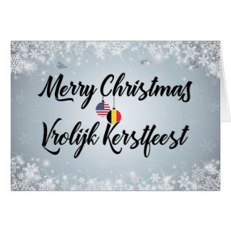 Merry Christmas Bilingual Belgian American Card