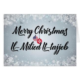 Merry Christmas Bilingual Maltese American Card