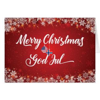 Merry Christmas Bilingual Norwegian American Card