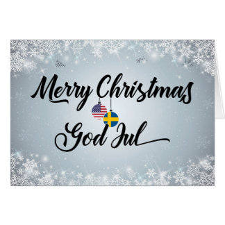 Merry Christmas Bilingual Swedish American Card