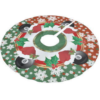 Merry Christmas Billiards Lovers Brushed Polyester Tree Skirt
