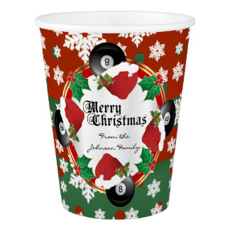 Merry Christmas Billiards Lovers Paper Cup