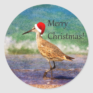 Merry Christmas Bird in Santa Hat on Beach Sticker