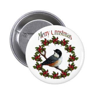 Merry Christmas Bird Wreath Original Art Pinback Buttons