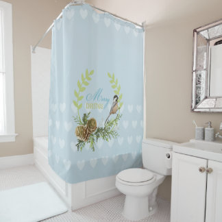 Merry Christmas birds, pine cones Xmas gifts Shower Curtain