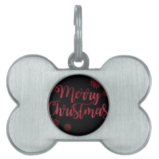 Merry Christmas Black and Red Snowflake Typography Pet ID Tag