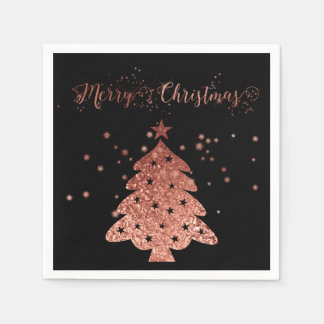 Merry Christmas Black Background Pink Faux foil Disposable Napkins