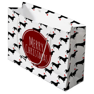 Merry Christmas Black Dachshunds Pattern Large Gift Bag