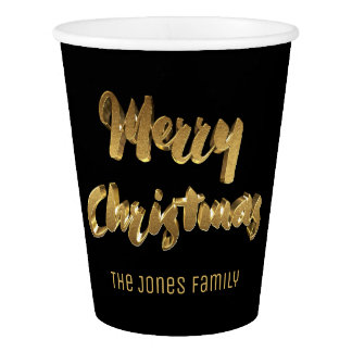 Merry Christmas Black Gold Handwriting Typography Paper Cup