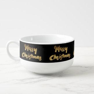 Merry Christmas Black Gold Handwriting Typography Soup Mug