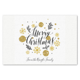 Merry Christmas Black Gold Snowflakes Personalized Tissue Paper