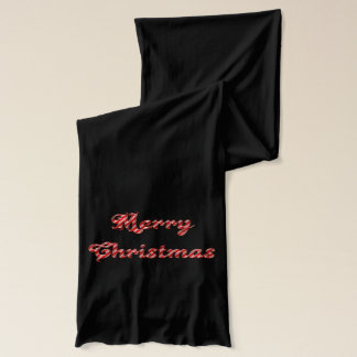 Merry Christmas  Black Jersey Scarf