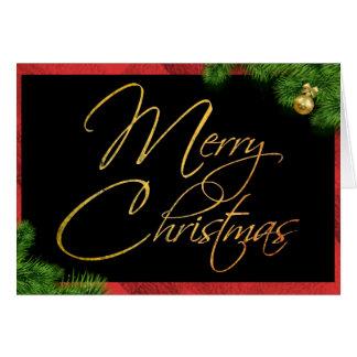 Merry Christmas Black Red Pine Modern Card