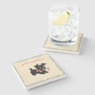 Merry Christmas Black Scotty Dog Stone Beverage Coaster